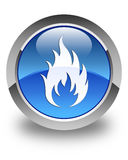 Fire icon glossy blue round button. Fire icon isolated on glossy blue round button abstract illustration Royalty Free Stock Photos