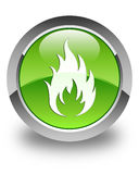 Fire icon glossy green round button. Fire icon isolated on glossy green round button abstract illustration Stock Photo