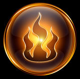 Fire icon gold Stock Photo