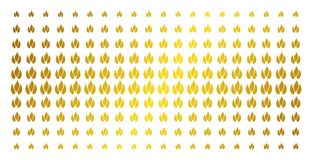 Fire Gold Halftone Effect. Fire icon golden halftone pattern. Vector fire shapes are organized into halftone array with inclined golden gradient. Designed for Royalty Free Stock Images
