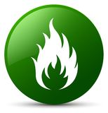 Fire icon green round button Stock Images