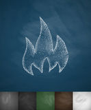 Fire icon. Hand drawn vector illustration. Chalkboard Design Royalty Free Stock Photo