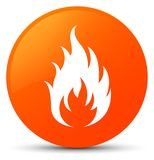 Fire icon orange round button. Fire icon isolated on orange round button abstract illustration Royalty Free Stock Photo