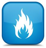 Fire icon special cyan blue square button. Fire icon isolated on special cyan blue square button abstract illustration Royalty Free Stock Image