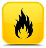 Fire icon special yellow square button Royalty Free Stock Photo
