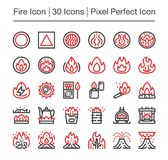 Fire icon. Fire line icon set,editable stroke Royalty Free Stock Images