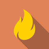 Fire icon with long shadow in a flat design Stock Photos