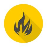 Fire icon with long shadow Stock Photography