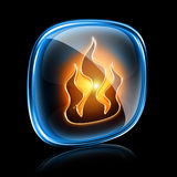 Fire icon neon. Fire icon neon,  on black background Royalty Free Stock Photos