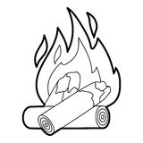 Fire icon, outline style. Fire icon. Outline illustration of fire vector icon for web design Stock Photography