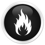 Fire icon premium black round button Royalty Free Stock Photos