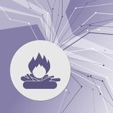 Fire Icon on purple abstract modern background. The lines in all directions. With room for your advertising. Illustration Stock Photography