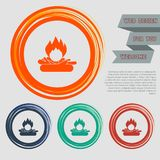 Fire Icon on the red, blue, green, orange buttons for your website and design with space text. Illustration Stock Photography