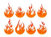 Fire icon set. Design element. 8 fire icon with round bottom design element on white background Stock Photography
