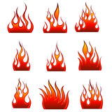 Fire icon set. Set of fire vector icons for design use Royalty Free Stock Photo