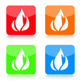 Fire Icon Set. Color icons with fire symbol isolated on white background Royalty Free Stock Photo