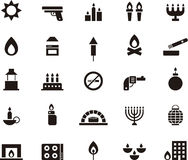 Fire icon set. Set of black and white flat glyph icons relating to fire Stock Photos