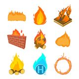 Fire icon set, cartoon style. Fire icon set. Cartoon set of fire vector icons for web design isolated on white background Royalty Free Stock Photography