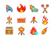 Fire icon set, cartoon style. Fire icon set. Cartoon set of fire vector icons for your web design isolated on white background Stock Photos