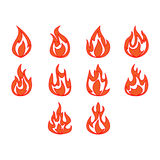 Fire icon set Royalty Free Stock Photos
