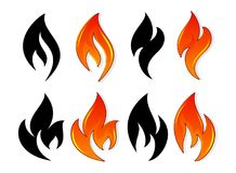 Fire icon set. Design element. 4 fire icon with black and color design element on white background Stock Images