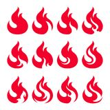 Fire icon set. Design element. 12 fire icon design element on white background Stock Photos
