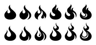 Fire icon set. Design element. 12 fire icon design element on white background Royalty Free Stock Photography