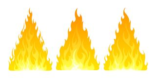 Fire icon set. Design element. 3 fire icon with flat bottom design element on white background Royalty Free Stock Image