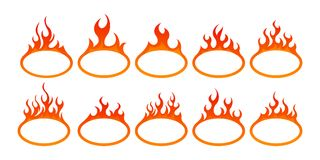 Fire icon set. Design element. 10 fire icon with round bottom design element on white background Stock Photos