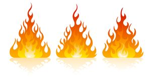 Fire icon set. Design element. 3 fire icon with flat bottom design element on white background Stock Photo