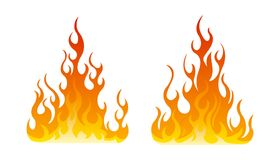 Fire icon set. Design element. 2 fire icon with flat bottom design element on white background Stock Image