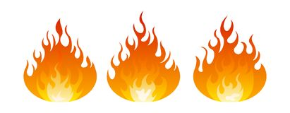 Fire icon set. Design element. 3 fire icon with round bottom design element on white background Stock Photos