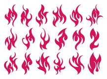 Fire icon set. Design element. 18 fire icon design element on white background Stock Photo
