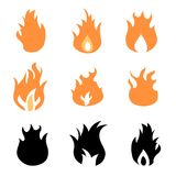 Fire icon set. Vector fires design element collection Royalty Free Stock Photos