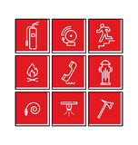 Fire Icon Set. Flat Line Vector Fire Emergency Signs Stock Photos