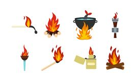 Fire icon set, flat style. Fire icon set. Flat set of fire vector icons for web design isolated on white background Stock Photos