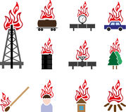 Fire icon. Set of objects and fire icon Stock Image