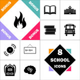 Fire computer symbol. Fire Icon and Set Perfect Back to School pictogram. Contains such Icons as Schoolbook, School  Building, School Bus, Textbooks, Bell Royalty Free Stock Image