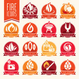 Fire icon set. Quality set of icons that can be used on fire Royalty Free Stock Photo