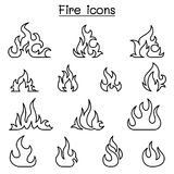 Fire icon set in thin line style. Vector illustration graphic design Royalty Free Stock Photos