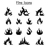 Fire icon set Royalty Free Stock Images