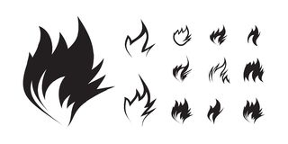 Fire icon set on white background Royalty Free Stock Photos