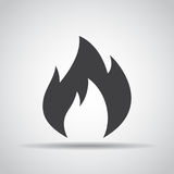 Fire icon with shadow on a gray background. Vector illustration Royalty Free Stock Photos