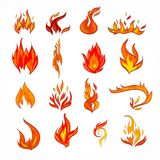 Fire icon sketch. Fire flame burn flare decorative icons set isolated vector illustration Royalty Free Stock Images