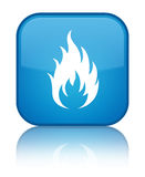 Fire icon special cyan blue square button. Fire icon isolated on special cyan blue square button reflected abstract illustration Stock Photo