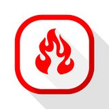 Fire icon, square button. Fire flame, colored icon with shadow on a rounded square button Stock Photos