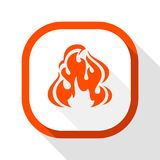 Fire icon, square button. Fire flame, colored icon with shadow on a rounded square button Royalty Free Stock Images