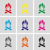 Fire icon stock vector illustration flat design. Set icon flat design style vector illustration Royalty Free Stock Photography