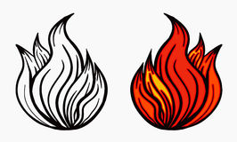 Fire Icon Vector. Spurts of flame in black white and red. Vector illustration. Royalty Free Stock Image