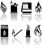 Fire icons. Set of a fire icons, illustration Stock Images